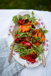 Roasted Peppers and Sweet Potatoes with Crispy Chorizo