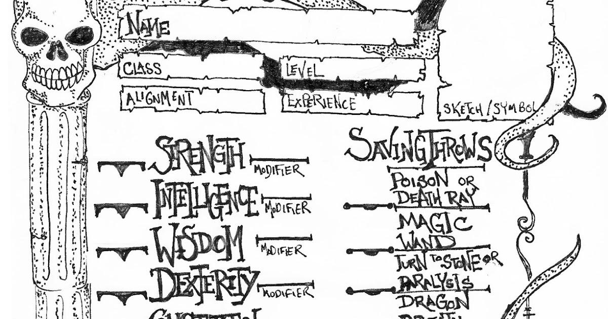 Sketchbook Friday: Hand-drawn B/X character sheet