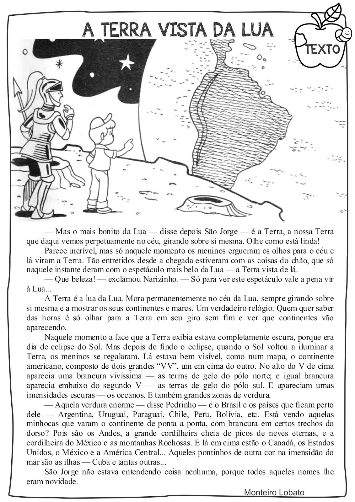 Atividade Dia do Livro Infantil Sítio do Pica Pau Amarelo Texto base A Terra vista da Lua