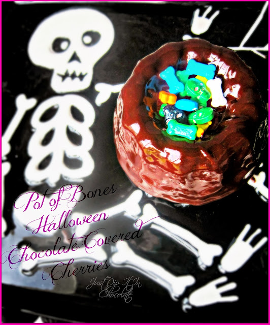 Pot of Bones Halloween Chocolate Covered Cherries Bundt Cake Recipe, Halloween has never been sweeter, chocolate covered cherries with a twist for your specila Oct 31st celebration #Halloween, #halloweendesserts #halloweenchocolate #bones