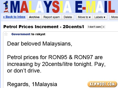 1malaysia email petrol price
