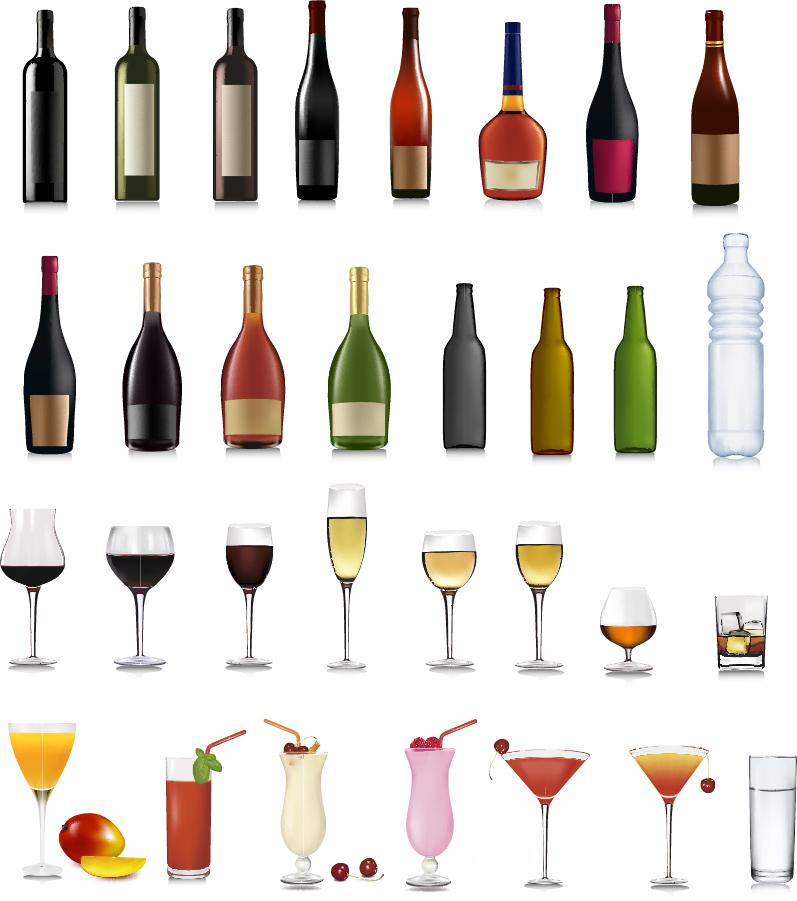色々な形のボトルとグラス bottle and goblet イラスト素材