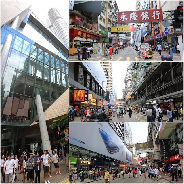 Langham Place shopping mall and its surrounding shops in Mong Kok area of Kowloon, Hong Kong