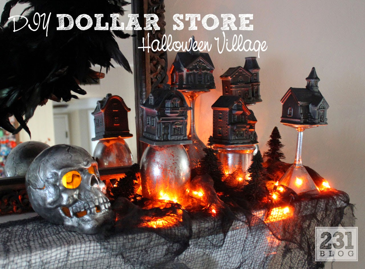 DIY Dollare Store Halloween Village update with spray paint