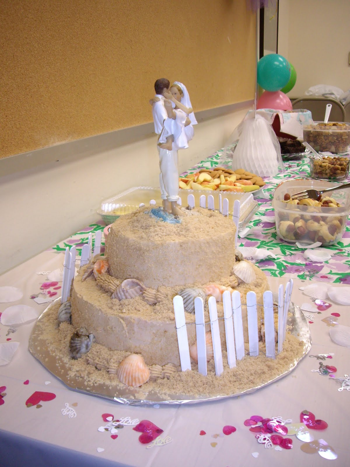 this is a beach theme bridal shower cake with white chocolate shells i have to admit that this cake is the favorite of lots of people