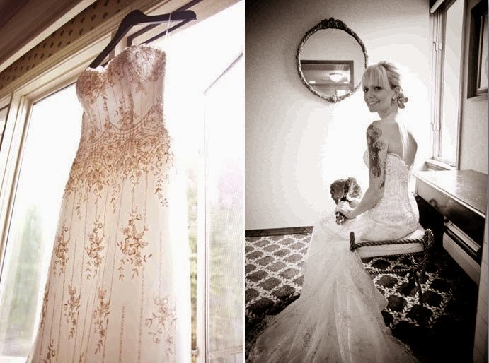 532f0650e78 Brides ivory beaded sweetheart neckline wedding dress hangs in window tattoo