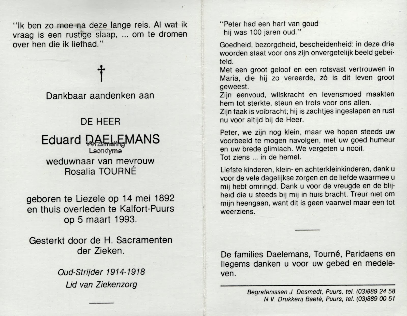 Bidprentje, Eduard Daelemans. Verzameling Leondyme.