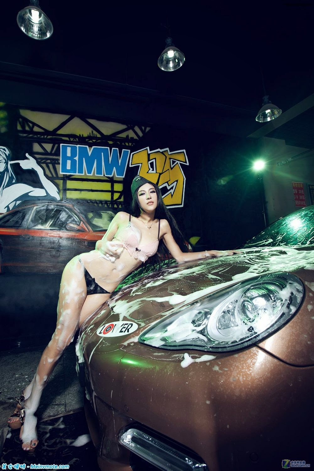 Just a small Greek bikini car wash coquettish pose