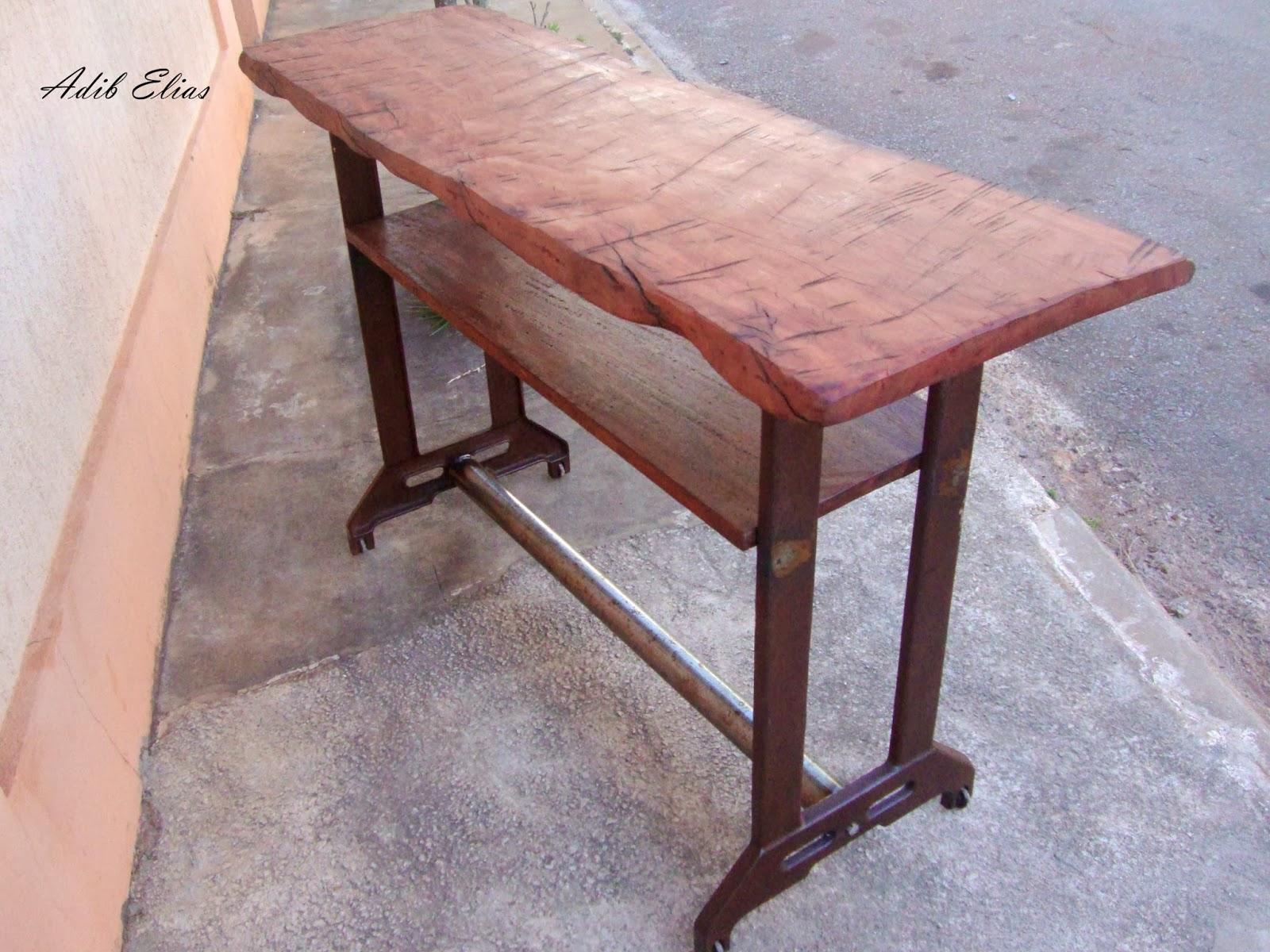 Aparador em madeira e ferro fundido(Antigo pé de maquina de costura  #934D38 1600x1200