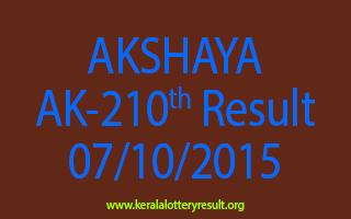 AKSHAYA AK 210 Lottery Result 7-10-2015