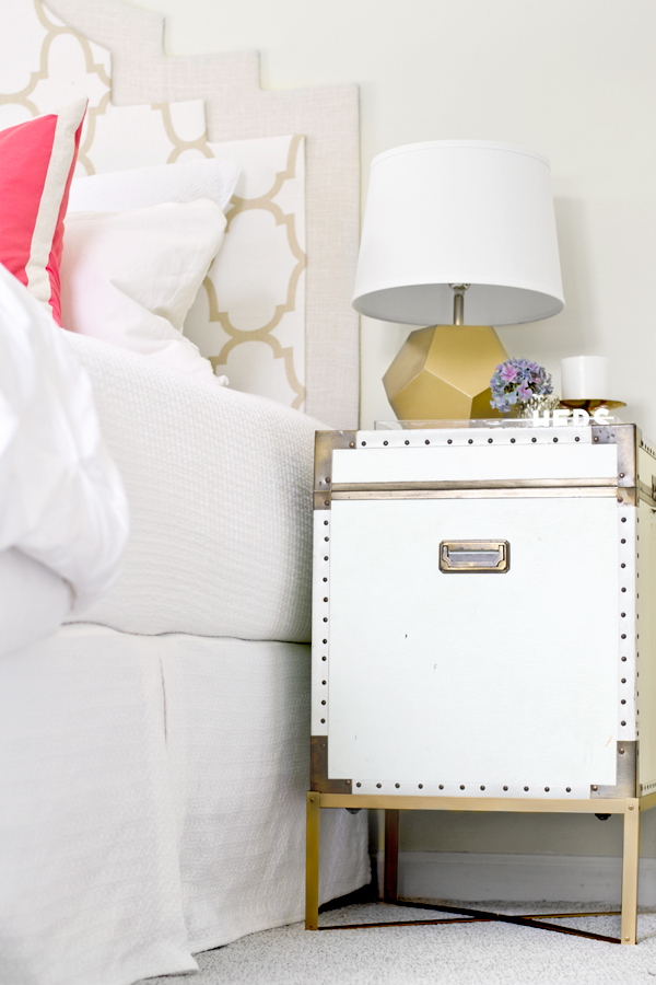 sarah m dorsey designs end table to nightstand pottery barn ludlow trunk knockoff. Black Bedroom Furniture Sets. Home Design Ideas