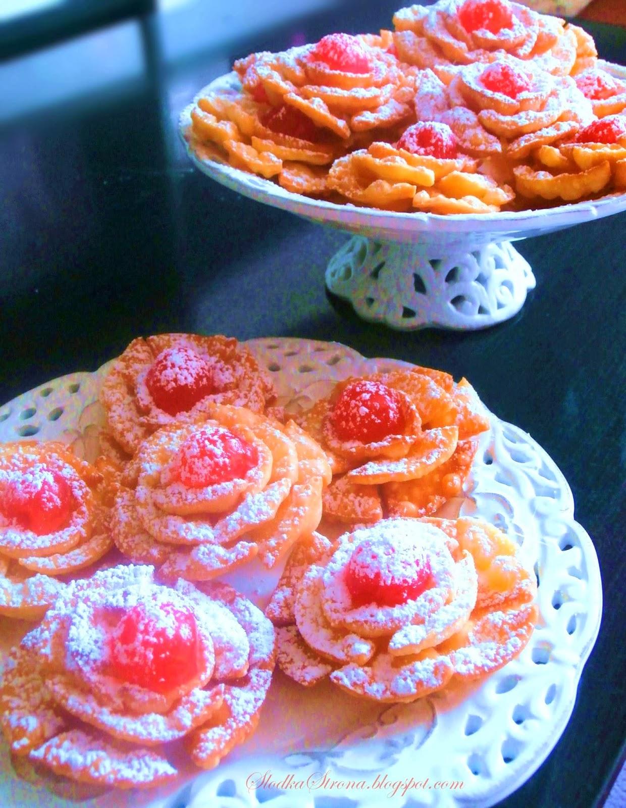 Róże Karnawałowe - Faworkowe Róże - Przepis - Słodka Strona