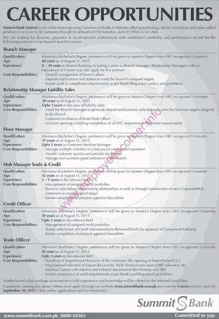 Various New Jobs in Summit Bank