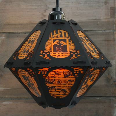 Vintage-style Halloween Lantern the Haint House is a limited edition papar light decor series by Bindlegrim
