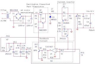 Catu daya switching menyediakan 12 volt, 10 amp pada, maksimum