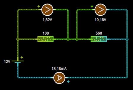 simulación circuito serie resultados