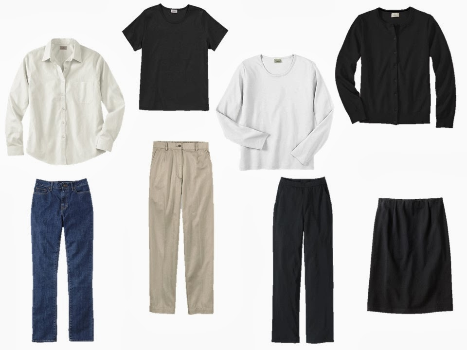eight-piece neutral wardrobe from L.L.Bean