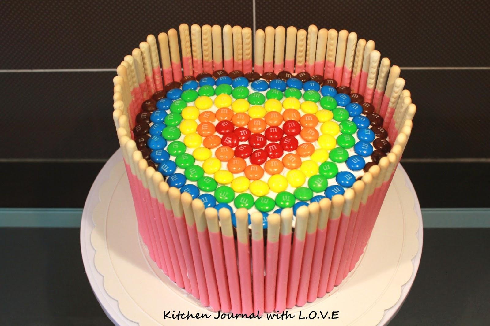Heart Shape Birthday Cake with MM Chocolate Decor Kitchen Journal