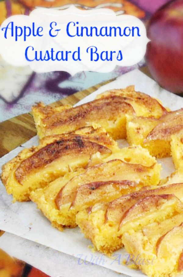 Amazing Apple and Cinnamon Custard Bars !  Cake bottom, creamy custard filling & caramelized apple topping baked all at once
