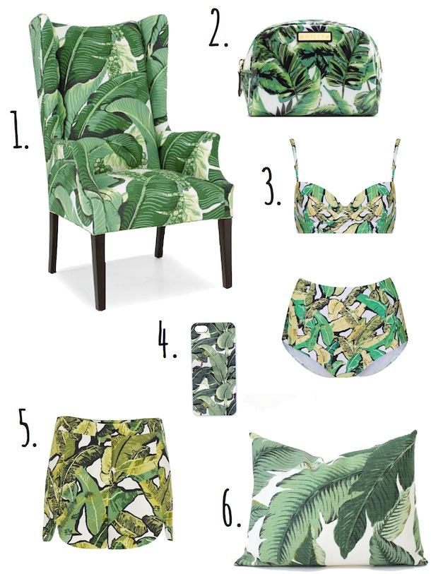 CR Laine Chair [2.] Milly NY Banana Leaf Print Cosmetic Case [3.] Green Banana  Leaf Longline Bikini [4.] Banana Leaf Pattern IPhone Case [5.