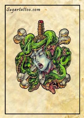 medusa tattoos,mythology tattoos,greek tattoos,goddess tattoos,god tattoos,fantasy tattoos,wicked tattoos,evil tattoos,snake tattoos,sword tattoos,blood tattoos,bloody tattoos,bones tattoos,horror tattoos,creature tattoos,fangs tattoos,serpent tattoos,reptile tattoos