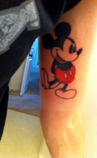 Micky mouse tattoo on leg so cute