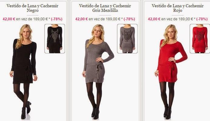Tres vestidos de lana de distintos colores en oferta
