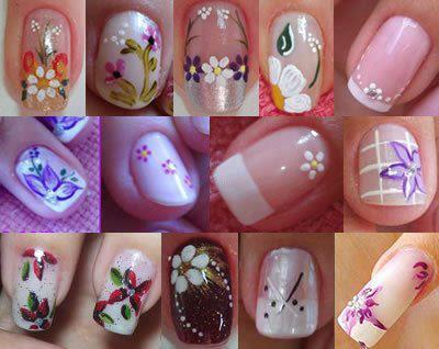 Belleza de uñas primaveral con flores de todo tipo