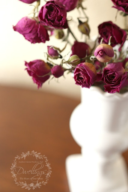 Dried roses for a floral vignette.