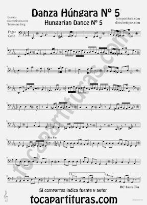 Tubepartitura Danza Húngara nº 5 Partitura de Chelo y Fagot de Johannes Brahms