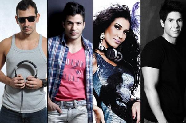DJs Flávio Lima (The Week – RJ), Tiago Vibe, Grá Ferreira (The Week – SP) e André Queiroz tocam na Fun Pride 2011. Daniel Mendes (Kinda) também se apresenta na noite (Foto: Divulgação)
