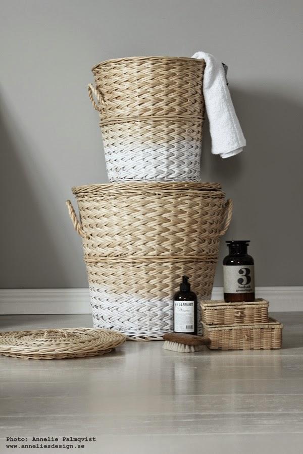 dip & dye. vitt och natur, tvättkorg, diy, tvättkorgar, naturfärgade, vitt och grått, korg, korgar, till tvättstugan,