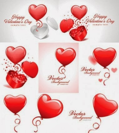 valentine day vector - red hot air balloon