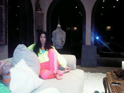 Cher looking relaxed in a photo uploaded to Twitter by Loree Rodkin