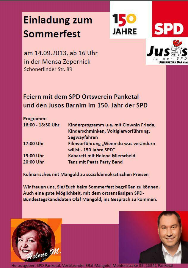Sommerfest 150 Jahre SPD 14. September Panketal