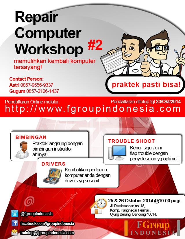 poster komputer computer workshop pelatihan bengkel komputer format langsung praktek bisa fgroupindonesia
