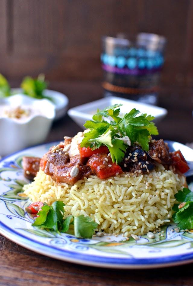 Jordanian Rice Pilaf (Vegetarian Mansaf)