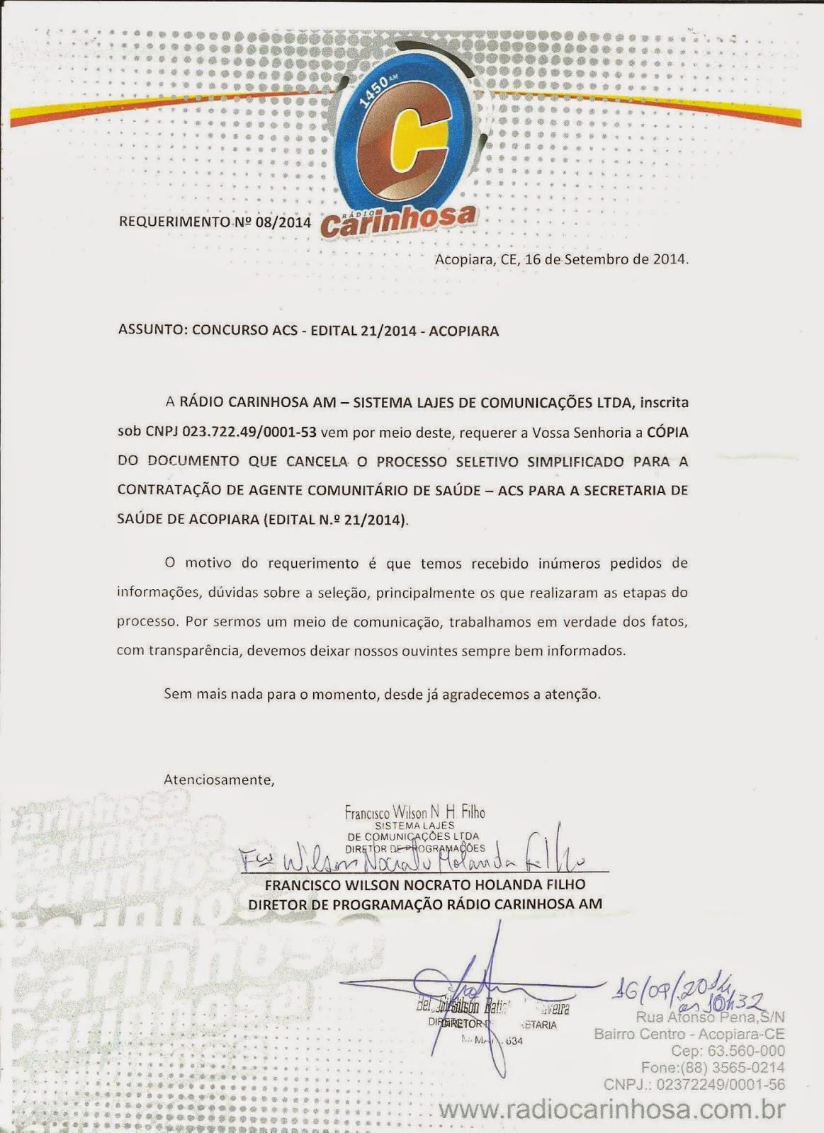 ACOPIARA: VEJAM A DOCUMENTAÇÃO ANULANDO CONCURSO PARA AGENTES DE SAÚDE