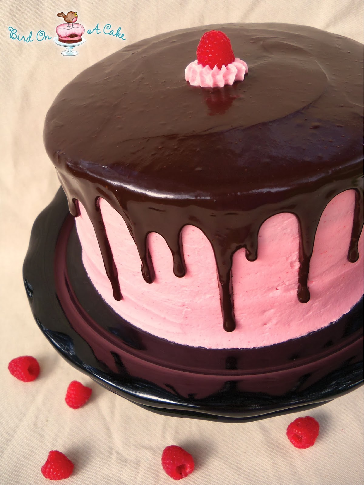 http://birdonacake.blogspot.com/2012/07/raspberry-cake-with-dark-chocolate.html