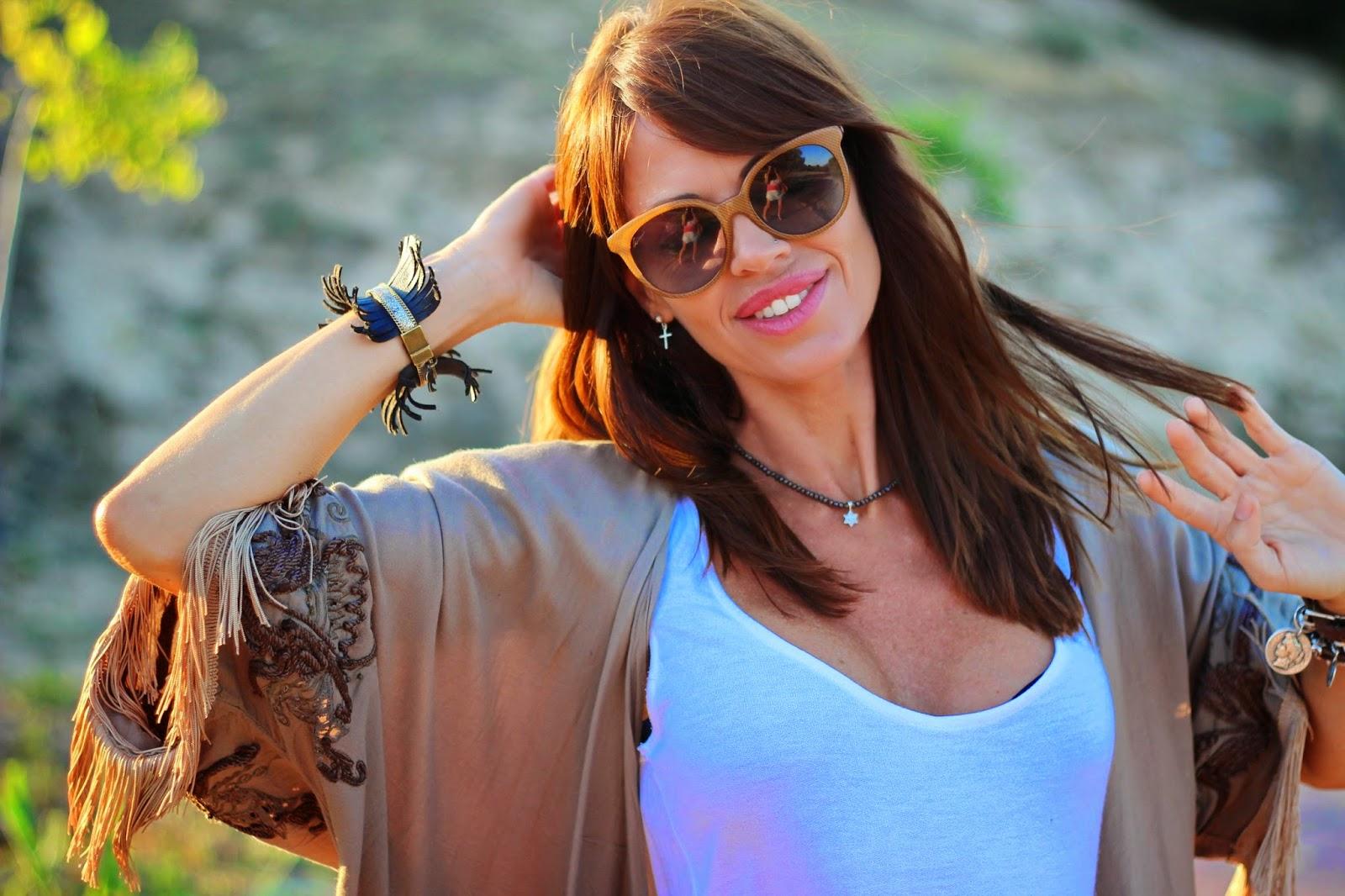 Kimono flecos - Gafas Gucci 2014