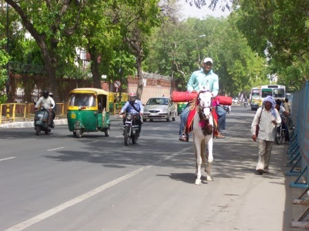 View of traffic in Delhi with Riksha, horse and motor-cycles