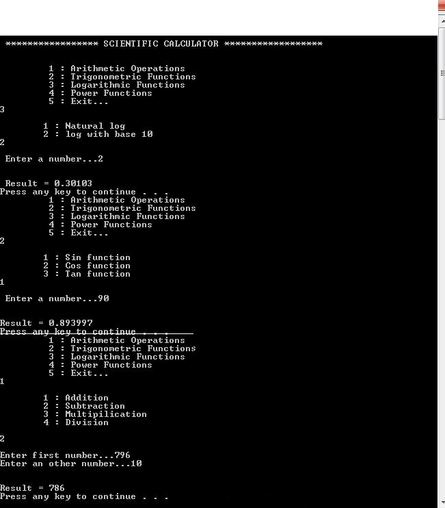 Program for making scientific calculator in c++