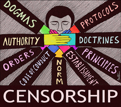 cartoon of head with many hands over mouth, censorship
