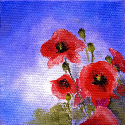 Painting  Red Poppy Flowers  Original Oil Painting  by Marina PetroPoppy Flowers Painting