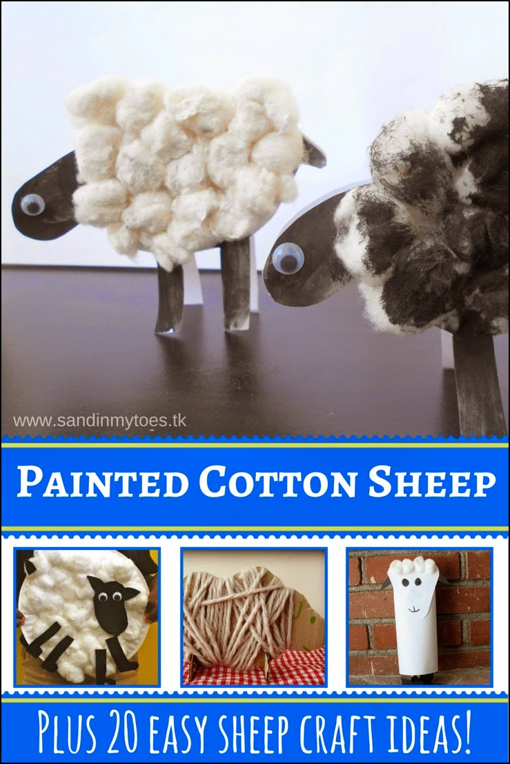Painted Cotton Sheep craft, and 20 more easy sheep craft ideas!