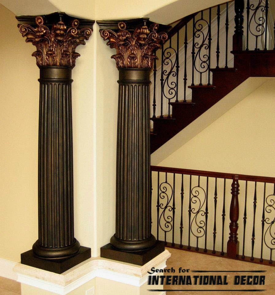 Decorative columns stylish element in modern interior Modern house columns