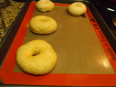 bagels are shaped and laid out on a baking sheet while you shape the rest of the doughs