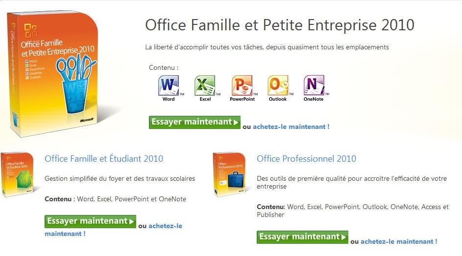 Partage informatique essayer microsoft office 2010 - Office famille et petite entreprise 2010 ...
