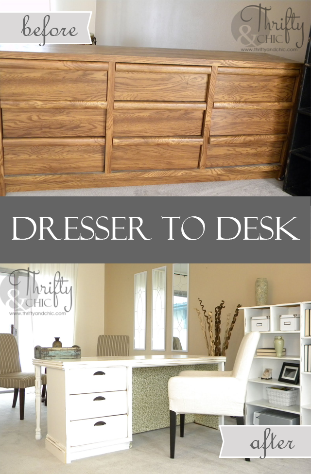 Dresser to desk makeover via Thrifty and Chic