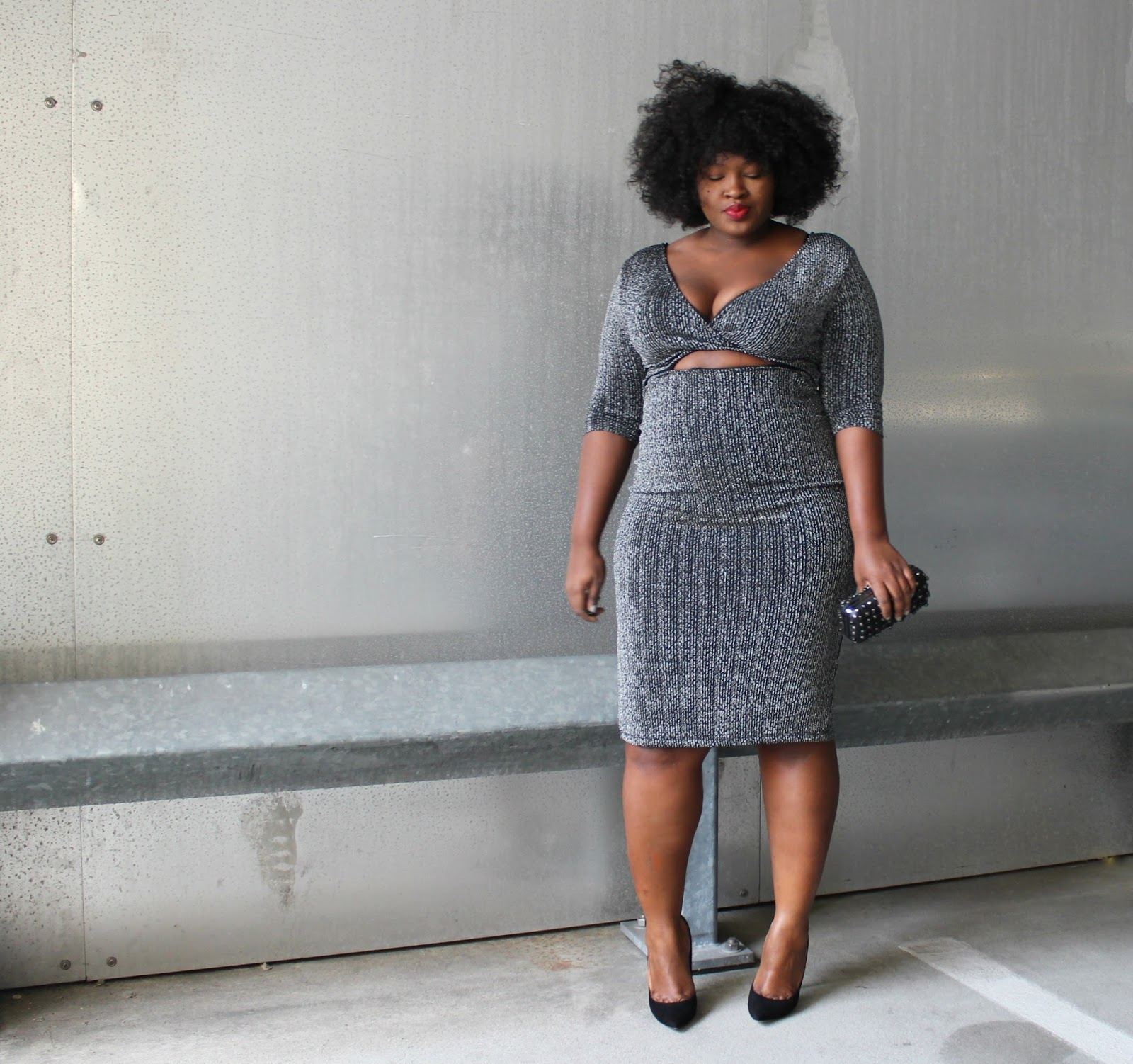 Plus Size Club Dress Silver